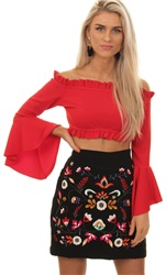 Only Black Jackie Embroidery Mini Skirt