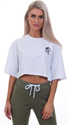 Gym King White Kourtney Crop Tee