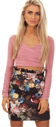 Missi Lond Black Mini Floral Skirt