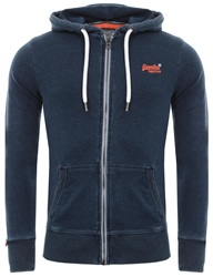 Superdry Light Marine Indigo Orange Label Lite Zip Hoodie