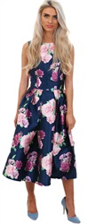 Chi Chi London Navy Floral Dress