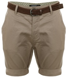 Threadbare Stone Belted Chino Shorts