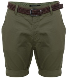 Threadbare Khaki Belted Chino Shorts