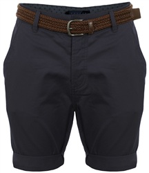 Threadbare Navy Belted Chino Shorts