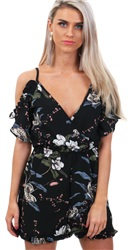 Ax Paris Black Floral Frill Playsuit
