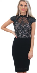 Lipsy Black Black Floral Lace Dress
