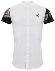 Siksilk White/Floral S/S Contrast Oxford Shirt