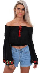 Brave Soul Black Ursula Embroidered Top