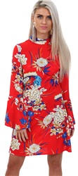 Parisian Red Floral Dress