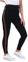 Missi Lond Black/Red Ribbed Stripe Legging