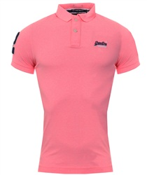 Superdry Fluoro Pink Grit Classic Short Sleeve Pique Polo Shirt