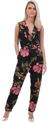 Ax Paris Black Floral Jumpsuit