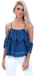 Qed Medium Wash Chambury Bardot Top