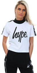 Hype White Taped Crop Top