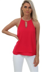 Only Virtual Pink Mariana Sleeve Less Top