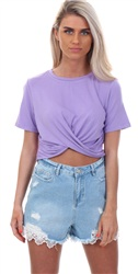 Glamorous Lilac Knot Crop Top