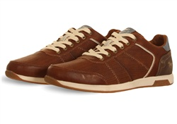 Mustang Brown Pu Textured Trainer