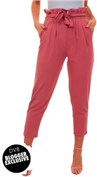 Missi Lond Pink Frill Waist Trousers