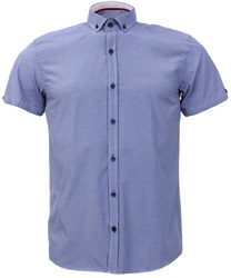 Ottomoda Navy Short Sleeve Check Shirt