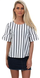 Only Bright White / Blue Night Riana Striped Top