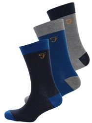 Farah Trueblue/Charcoal 3 Pack Socks