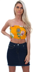 Parisian Mustard Crop Floral Top