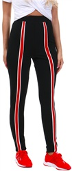 Parisian Black/Red Stripe Front Leggings