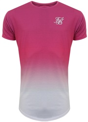 Siksilk Pink/White Techno Fade Curved Hem Tee