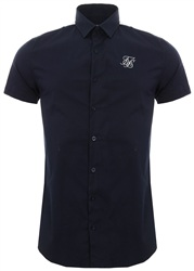 Siksilk Navy/Cream Stretch Fit Cotton Shirt