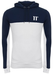 11degrees Navy/White Block Pullover Hoodie