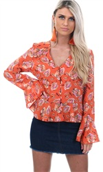 Missi Lond Orange Crop Frill Top