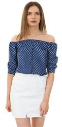 Influence Navy/White Polka Dot Bardot Top
