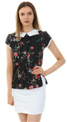 Influence Black Floral Peter Pan Collar Top