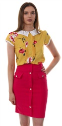 Influence Yellow Peter Pan Collar Top
