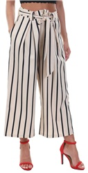 Missi Lond Cream Stripe Wide Leg Trouser