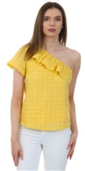 Fashion Union Yellow Broderie Top