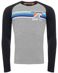 Superdry Upstate Grey/Navy Marl Surf Co Stripe Raglan T-Shirt