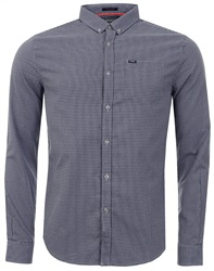 Superdry Navy Grit Micro Gingham University Oxford Shirt