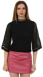 Style London Black Crop Crochet Top