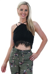 Influence Black Lace Detail Crop Top