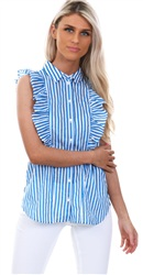 Noisy May Directorie Blue Jack Stripe Frill Shirt