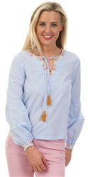 Only Cloud Dance/Stripe Tie Tassle Neck Top
