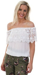Brave Soul Ecru Linda Lace Trim Top