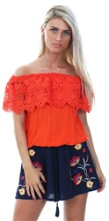 Brave Soul Fiesta Red Linda Lace Trim Top