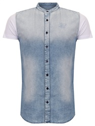 Siksilk Denim Blue/White Sleeve Jersey Grandad Washed Denim Shirt