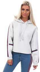 Hilfiger Denim Light Grey Tjw Tape Hoodie