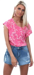Only Pink Flamingo Nova Print Top
