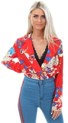 Parisian Red Floral Bodysuit