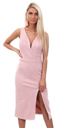 Wal/G Pink Suede Midi Dress