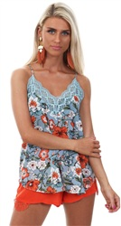 Style London Baby Blue Floral Print Cami Top